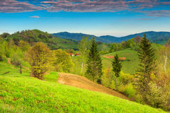 Spring landscape and farmland,Holbav,Transylvania,Romania,Europe Stock Images