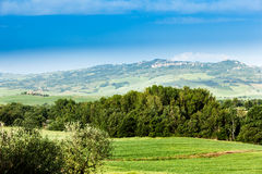 Spring landscape of fields Tuscany, Italy Stock Image