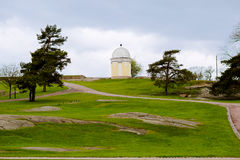 Spring landscape in Finland, Helsinki. Park on a hill with a small gazebo for a walking Stock Photography