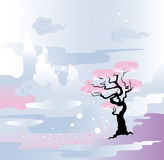 Spring landscape.Flowering tree. Japanese style inspired vector illustration- spring scene Stock Photo