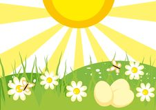 Spring landscape with flowers. And eggs for Easter Royalty Free Stock Image