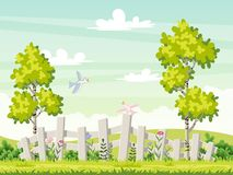 Spring landscape with flowers and birds Royalty Free Stock Photos