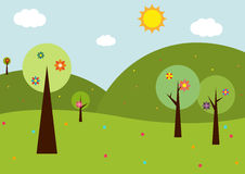 Spring landscape with flowers Royalty Free Stock Image