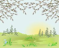 Spring landscape forest Easter background and willow in the grass with flowers place for text vintage vector illustration stock illustration