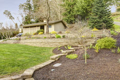 Spring landscape and garage with front yard. Stock Image