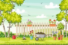 Spring landscape with garden tools. Vector illustration Stock Photography