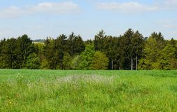 Spring landscape germany mountains fields forest Royalty Free Stock Image