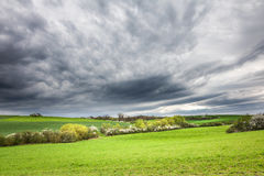 Spring landscape with green field and dramatic cloudy sky Royalty Free Stock Photos