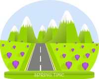 Spring landscape, green mountain with white top, valleys, purple crocuses, grey road, flat design Stock Photos