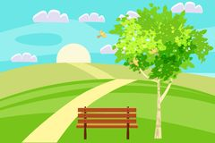 Spring landscape hills dear leading into the distance beyond the horizon. Bench in outdoor. Birds singing. Blue sky royalty free illustration