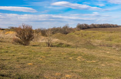 Spring landscape in hilly rural area, central Ukraine Stock Photography
