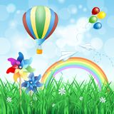 Spring landscape with hot air balloon Stock Photo