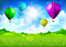 Spring landscape with hot air balloons vector illustration