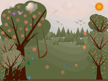 Spring Landscape Illustration. Illustration of Spring landscape with beautiful blooming trees Stock Image