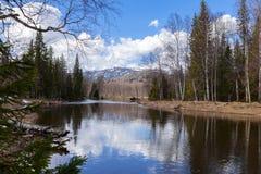 Spring landscape Inzer River South Ural Stock Images