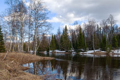 Spring landscape Inzer River South Ural Royalty Free Stock Photos