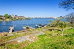 Spring landscape of Karlskrona sea shore Stock Image