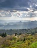 Spring Landscape Light Rays Blue Ridge Parkway NC stock photos