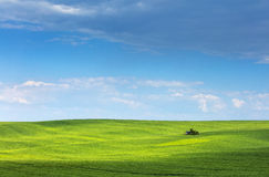 Spring landscape with little farm house under blue sky Royalty Free Stock Image