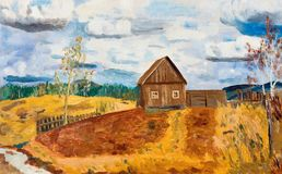 Spring landscape with a lonely house in the field. Oil painting Royalty Free Stock Images