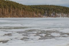 Spring landscape. Melted ice on the river stock photos
