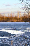 Spring landscape with melting ice on the lake on a clear day Royalty Free Stock Photo