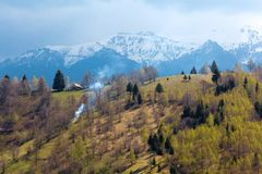 Spring landscape with mountains and green trees Royalty Free Stock Photography