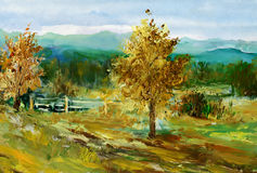 Spring landscape. Oil colours landscape. My own arfwork Royalty Free Stock Image