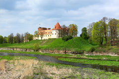 Spring landscape with old castle, Bauska - Latvia Stock Photography