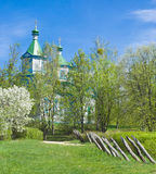 Spring landscape with old Ukranian church Royalty Free Stock Photos