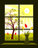 Spring landscape outside window Royalty Free Stock Image