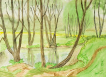 Spring landscape, painting Stock Photos