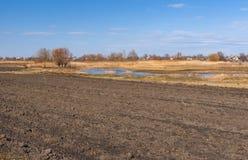 Spring landscape with plough-lands. In Poltavsk oblast, central UKraine Royalty Free Stock Photo