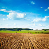 Spring Landscape with Plowed Field and Blue Sky Royalty Free Stock Images