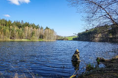Spring landscape with pond Royalty Free Stock Image