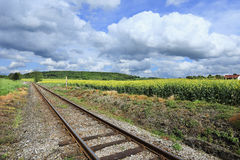 Spring Landscape with Railway in Bohemian Paradise, Czech Republic Royalty Free Stock Images
