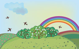 Spring landscape with rainbow Royalty Free Stock Photo