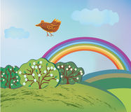 Spring landscape with rainbow and bird Royalty Free Stock Image