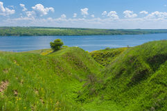 Spring landscape with ravine near big river Dnepr Stock Photos