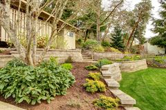 Spring Landscape with retaining walls and garage. Royalty Free Stock Image