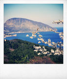 Spring landscape retro styled photo stock image