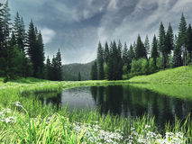 Spring landscape with a river Royalty Free Stock Images