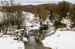 Spring landscape with a river in the Kaluga region (Russia). Stock Photography