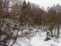 Spring landscape with a river in the Kaluga region (Russia). Royalty Free Stock Photo