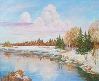Spring landscape with river pine and birches trees. Original oil painting. stock illustration