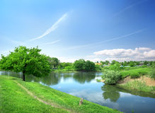 Spring landscape with the river Stock Images