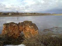 Spring landscape at the river Ugra in the Kaluga region. Stock Photo