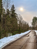 Spring landscape on the road in the woods. Just melted snow Royalty Free Stock Image