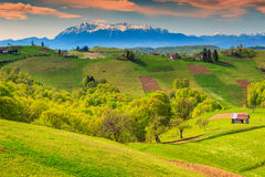 Spring landscape and rural village,Holbav,Transylvania,Romania,Europe