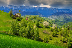 Spring landscape and rural village,Pestera,Transylvania,Romania,Europe Stock Images